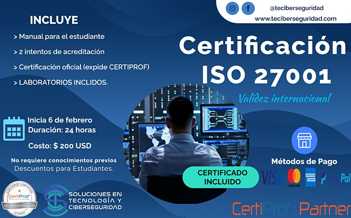 Imagen de Curso de Certificación en Gestión y Normativas en Ciberseguridad ISO:27001