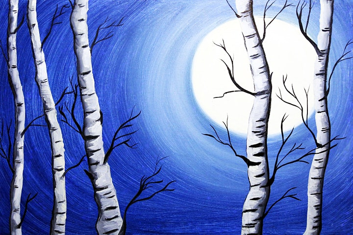 Online Adults Paint Night - Birch Trees Landscape image