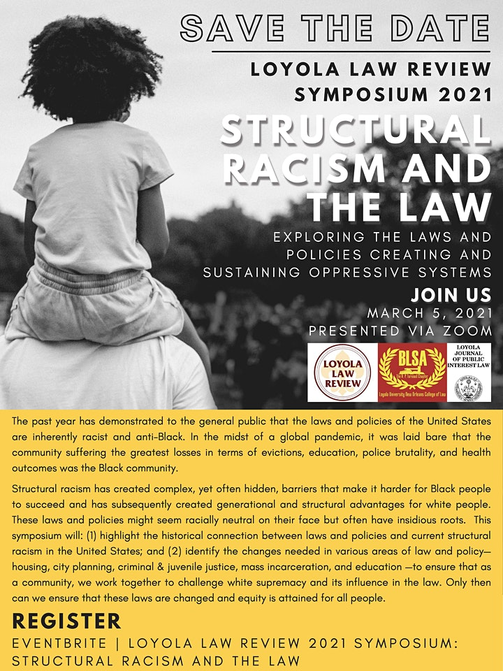 Loyola Law Review 2021 Symposium: Structural Racism and the Law image