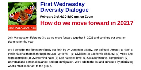 Mariposa's First Wednesday Diversity Dialogue for February 3, 2021 - Zoom tickets