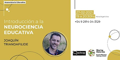 WEBINAR Introducción a la  NEUROCIENCIA EDUCATIVA - Joaquín Triandafilide entradas