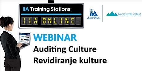 Webinar Revidiranje kulture / Auditing Culture tickets