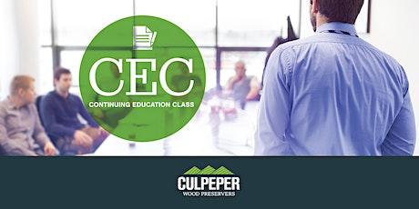Culpeper Wood Preservers and ESPY Lumber Continuing Education Ridgeland SC tickets