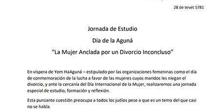 """DÍA DE LA AGUNÁ """"LA MUJER ANCLADA POR UN DIVORCIO INCONCLUSO"""" entradas"""