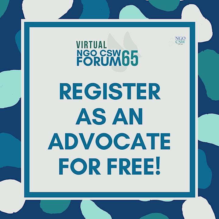 NGO CSW65 Forum Advocate Registration image