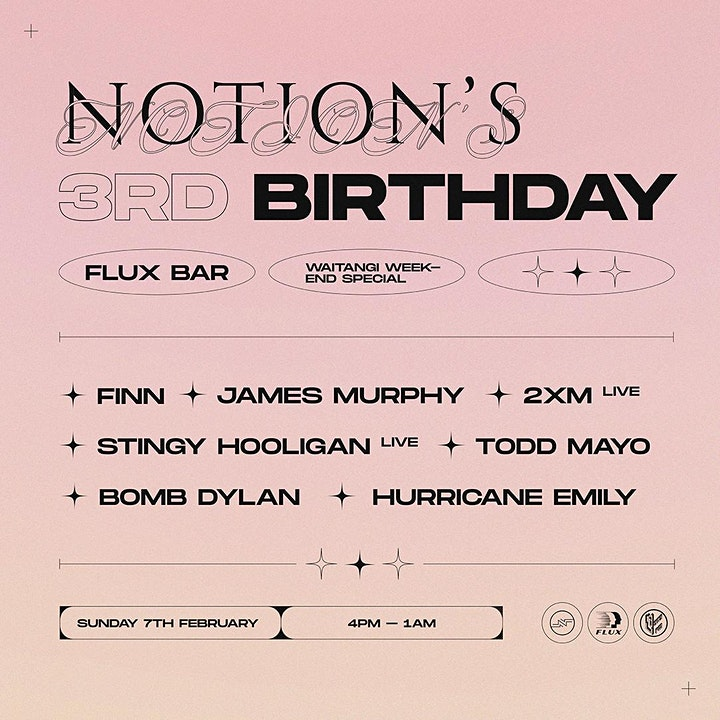 Notions Third Birthday - Waitangi Weekend Sunday Special image