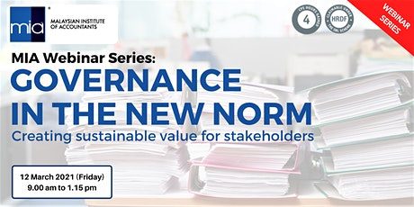 GOVERNANCE IN THE NEW NORM Creating sustainable value for stakeholders tickets