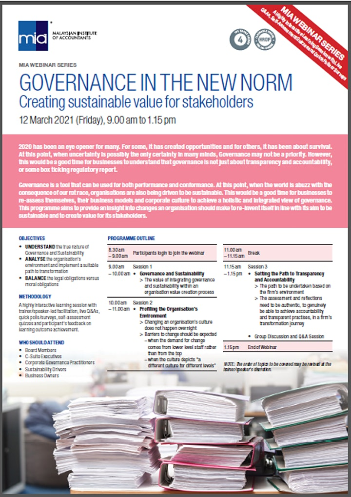 GOVERNANCE IN THE NEW NORM Creating sustainable value for stakeholders image