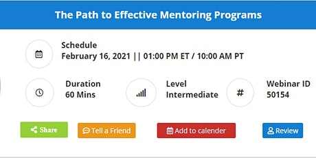 The Path to Effective Mentoring Programs tickets