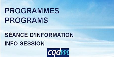 Séance d'information CQDM - Programmes de financement - FR billets