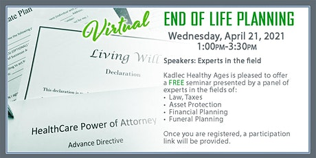 End Of Life Planning April 21, 2021 tickets