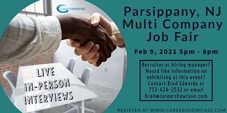 Date Change: Parsippany NJ In Person Job Fair Feb 9, 2021 5pm - 8pm tickets