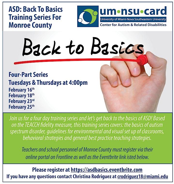 ASD: Back To Basics Training Series For Monroe County image