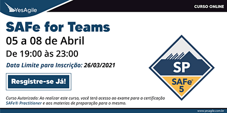 SAFe for Teams com certificação SAFe® Practitioner - Online - Português bilhetes