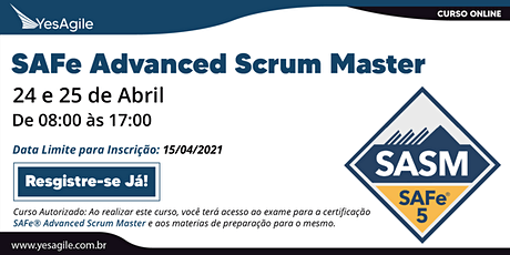 SAFe Advanced Scrum Master com certificação SAFe® SASM - Online - Português bilhetes
