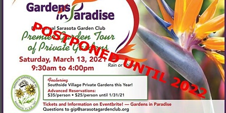 Sarasota Garden Club 8th Annual Gardens in Paradise Tour March 13, 2021 tickets