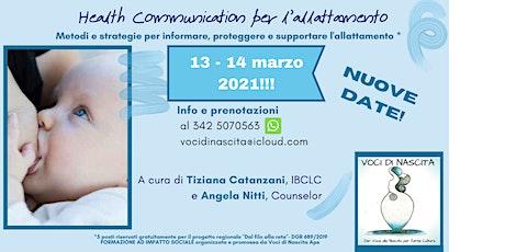 NUOVE DATE di HEALTH COMMUNICATION - NEL SOSTEGNO ALL'ALLATTAMENTO biglietti