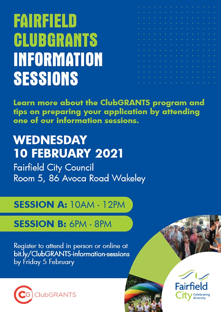 2021 Fairfield ClubGRANTS Information Sessions image
