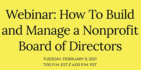 How To Build and Manage a Nonprofit Board of Directors tickets