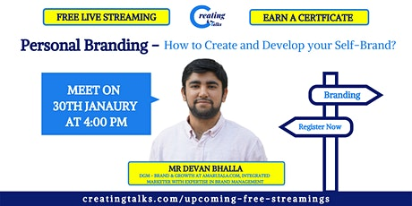 Personal Branding | How to Create and Develop your Self-Brand? -By Mr Devan tickets