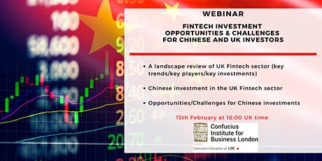 Webinar: FinTech Opportunities & Challenges for Chinese and UK Investors tickets