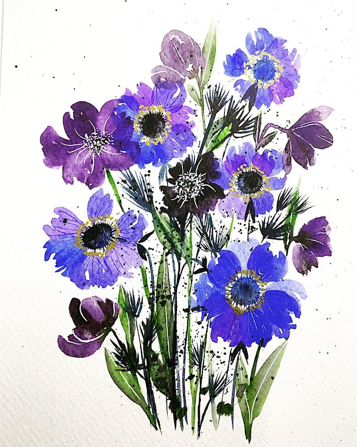 Watercolour Beautiful Floral Bouquet workshop- Online Friday March 2021 image