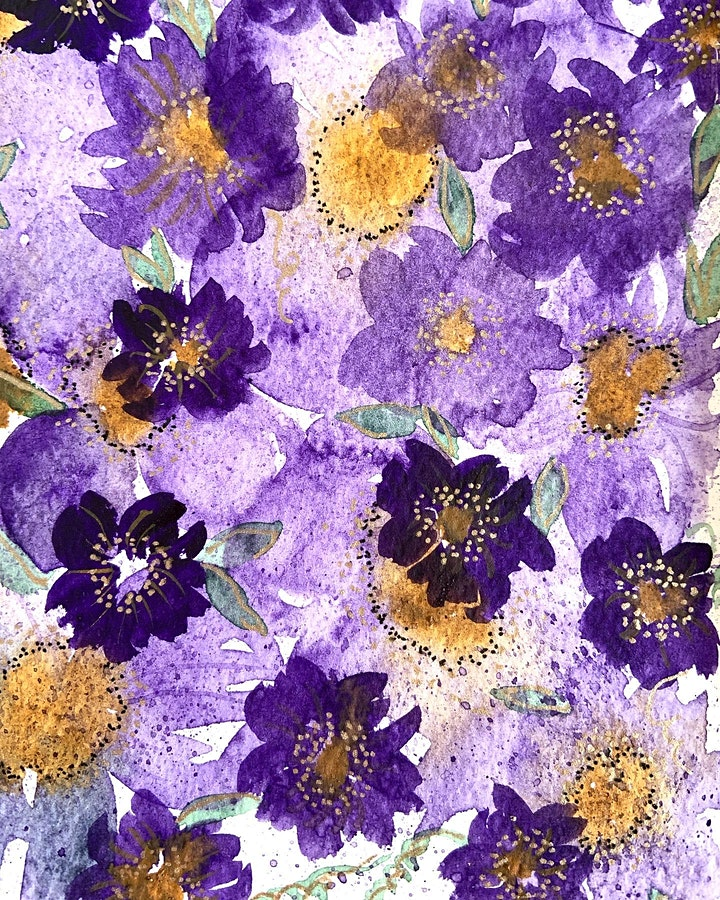Watercolour Beautiful floral pattern- wall art- Online Friday March 2021 image
