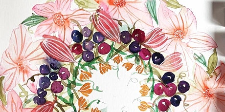Watercolour Beautiful Floral Wreath workshop- Online Friday March 2021 tickets