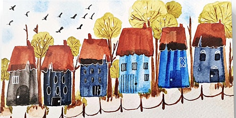 Watercolour Party - country house illustration in Half Term February 2021 tickets
