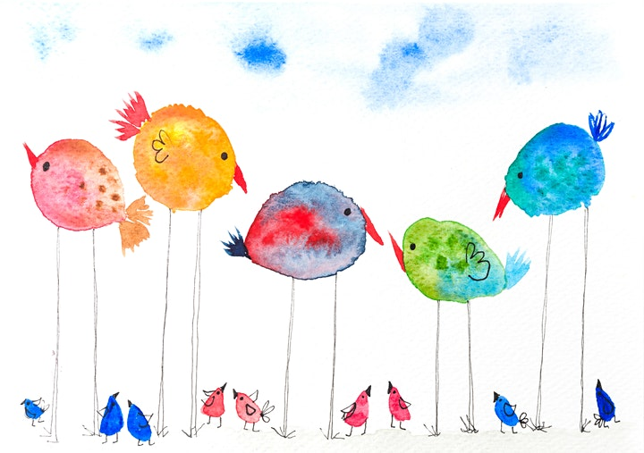 Watercolour Party - cheerful birds painting half term image