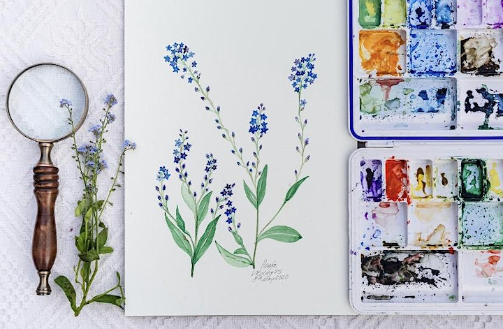 Watercolour Beautiful Floral Wreath workshop- Online Friday March 2021 image