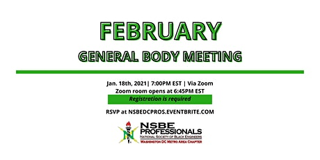 NSBE DC February 2021 General Body Meeting tickets