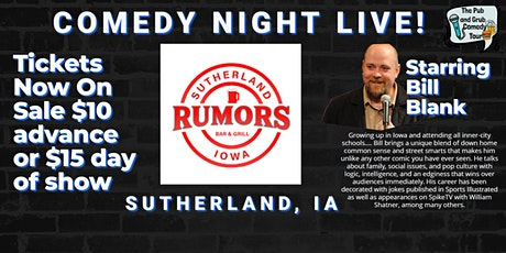 Rumors On Main presents Comedy Night Live starring Bill Blank! tickets