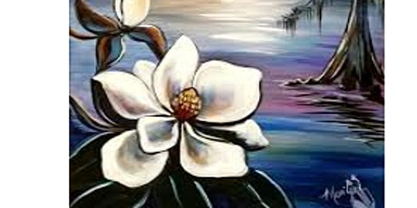 "Blue Dyer Distilling Co., ""Magnolia in the Evening"" canvas painting 3/2 tickets"
