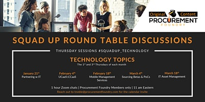 Squadup Round Table Discussion IT –  1st and 3rd Thursdays of the month