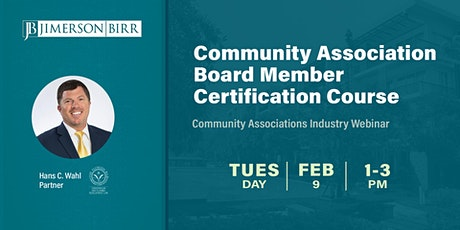Community Association Board Member Certification Course tickets