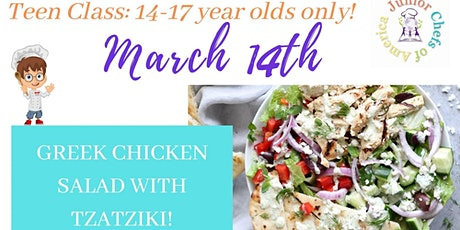 TEENS (13-17)  Online Cooking Class - Greek Chicken Salad with Tzatziki tickets