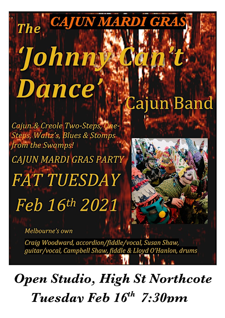 Open Studio FAT TUESDAY with Johnny Can't Dance Band! Pay as you feel event image