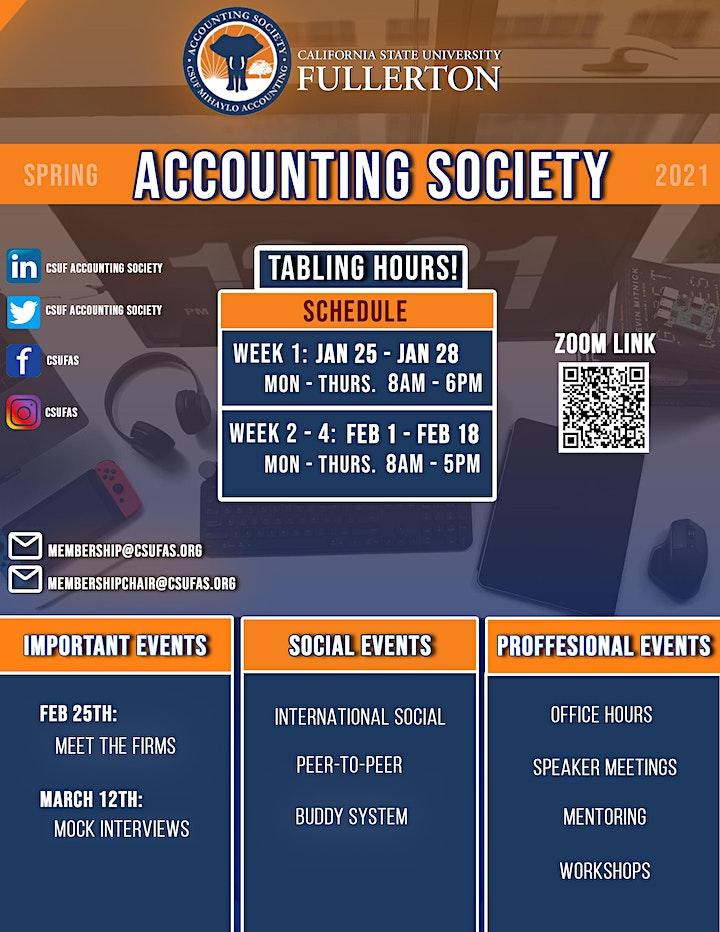 CSUF Accounting Society Membership Drive Spring 2021 image