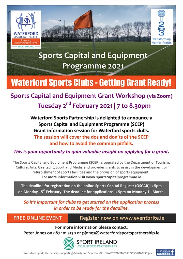 Sports Capital and Equipment Club Information Webinar - 2nd February 2021 image