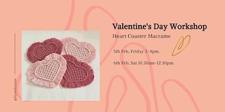 Valentine's Day Heart Coasters Macrame Workshop tickets