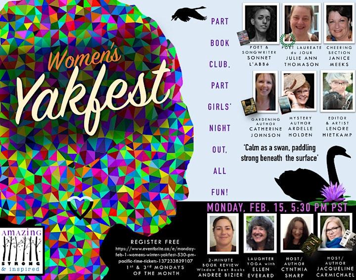 Monday, Feb. 15, Women's (Winter) Yakfest 5:30 pm Pacific time image