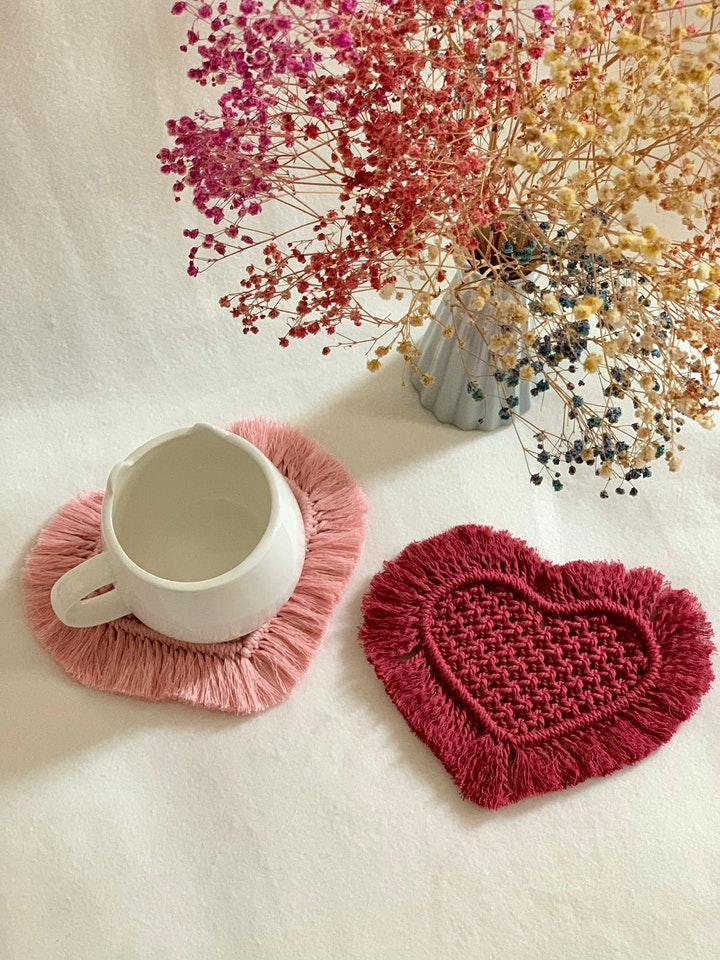 Valentine's Day Heart Coasters Macrame Workshop image