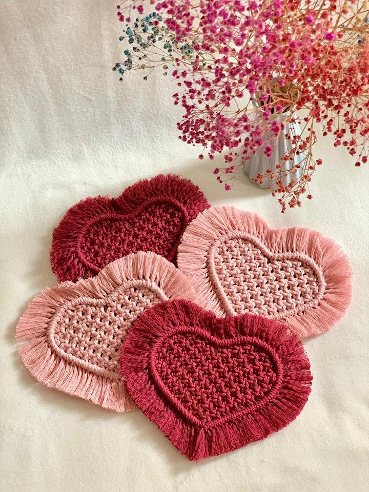 Valentine's Day Heart Coasters Macrame Workshop image