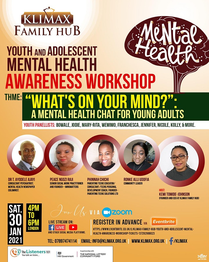 KLIMAX Family Hub - Youth and Adolescent Mental Health Awareness Workshop image