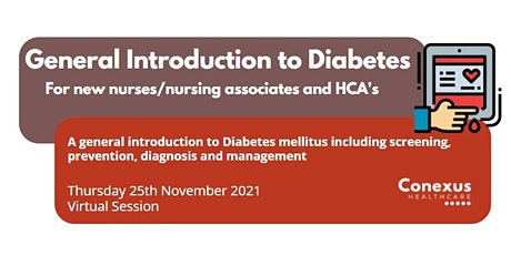 General introduction to Diabetes for new Nurses/HCA/Nursing Associates tickets