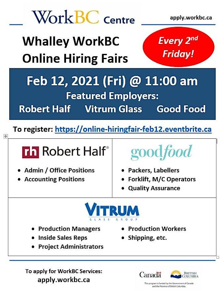 Whalley WorkBC Online Hiring Fair - Feb 12 @ 11am image