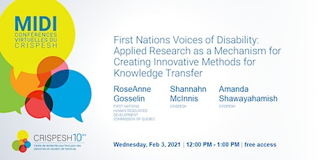 MIDI-CONFÉRENCE | First Nations Voices of Disability tickets