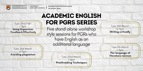 Academic English for PGRs: Using supervisor feedback effectively tickets
