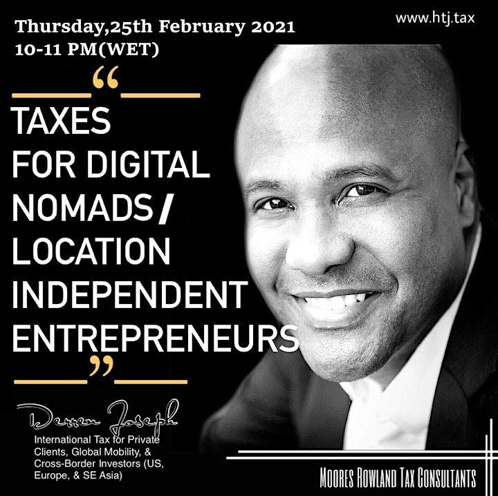 (WEBINAR) Taxes for Digital Nomads/Location Independent Entrepreneurs image